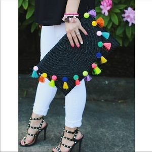 *SALE* Fabulous Black  Straw Pom Pom Clutch